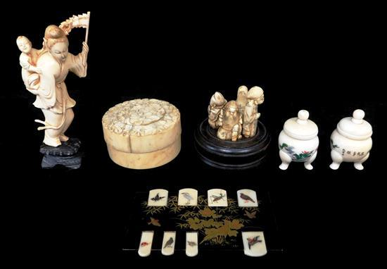 ASIAN: Ivory, Chinese/Japanese, six varied pieces: black lacquered block with inlaid ivory tabs with birds; woman with child, detach...