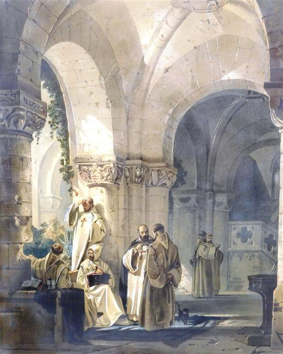 """Friedrich Perlberg (German, 1848-1921), """"Monks with Cat in a Cloister Yard"""", 1874, signed and dated at lower center, depicts an arch..."""
