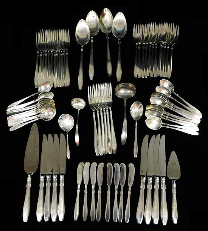 "STERLING: Gorham ""Nocturne"" flatware, eighty pieces, including: twenty-four teaspoons; eight solid butter knives; twelve salad forks..."
