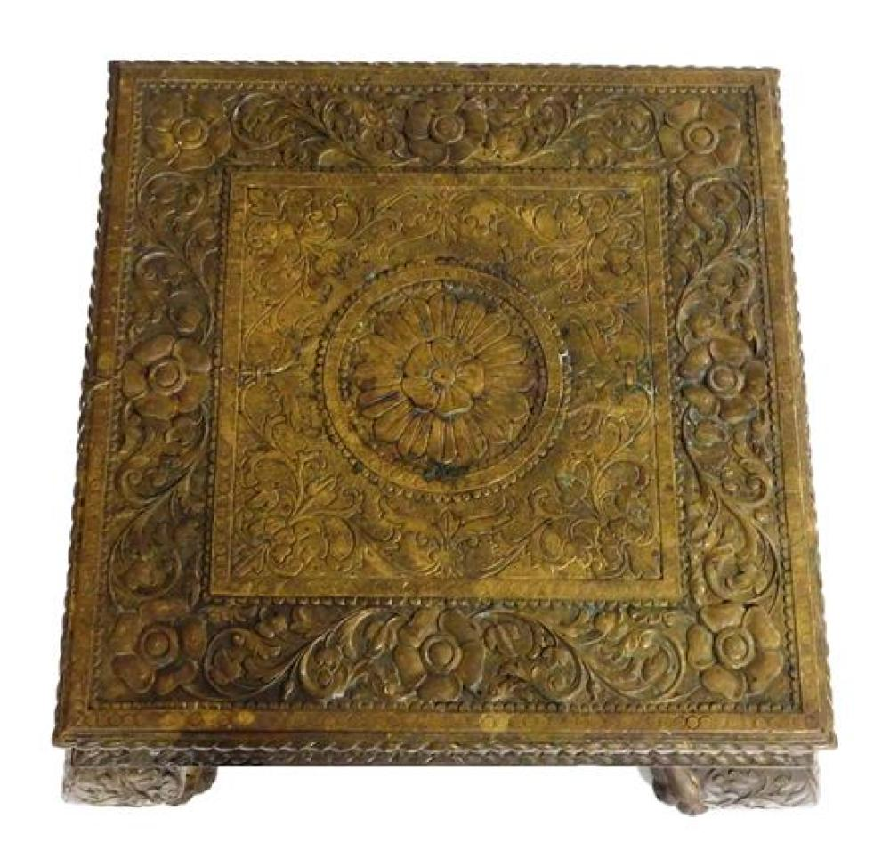 ASIAN: Brass repoussé stand, four cabriole legs, wear consistent with age and use including some damage and loss, 18 ½' h. x 22'