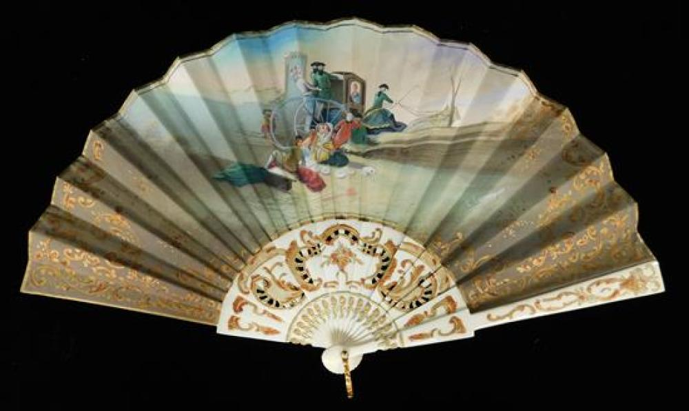 Continental carved ivory or ivory type, five pieces: two painted and signed fans, 19th/early 20th C., larger fan: 9