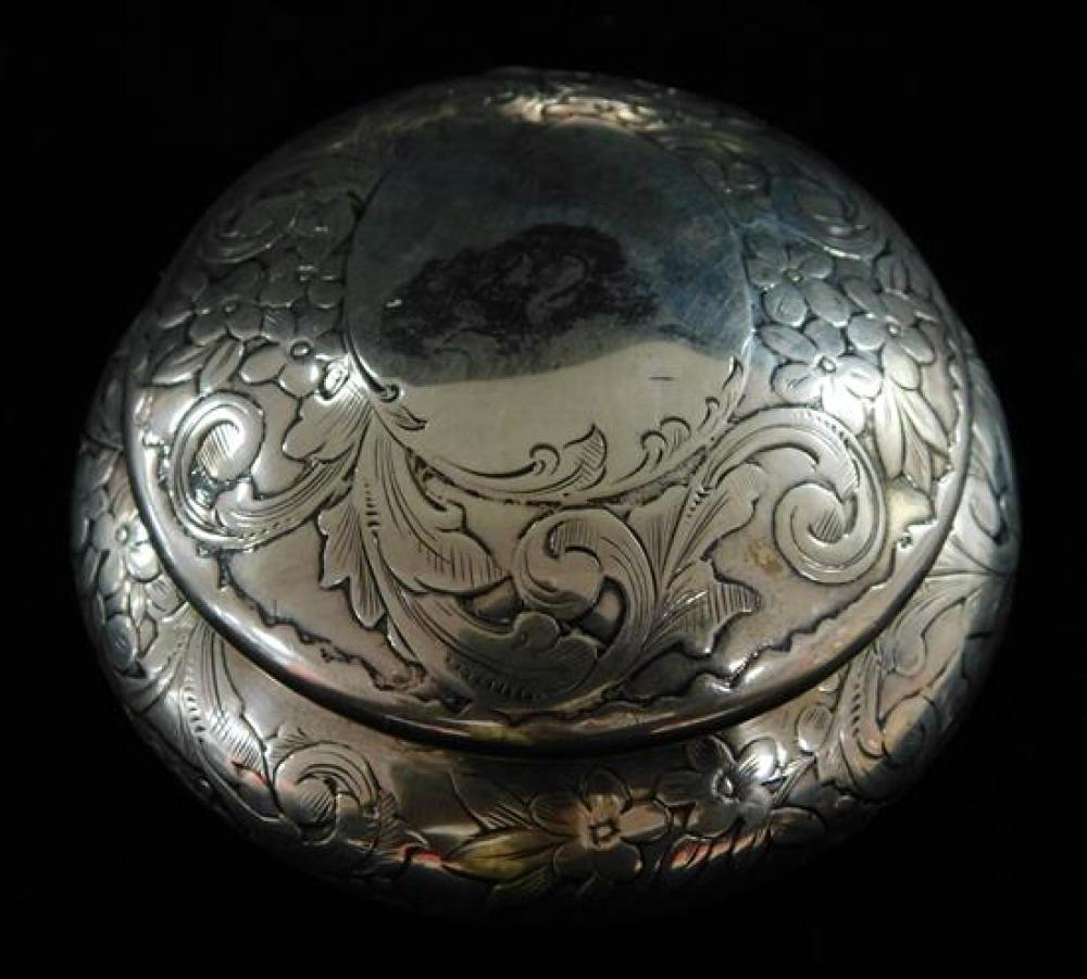 STERLING: Five small boxes and accessories, varied styles and makers, including: round repousse covered box by Gorham, 1.8 ozt.; sma...