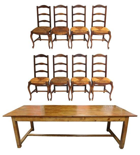 French Provincial style dining table and eight chairs, details include: oblong top table over four square column legs with H-stretch...