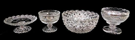 "GLASS: Four pieces of cut crystal, 20th C., including: two Anglo-Irish footed bowls, 4 ¾"" diam. and 5 ½"" diam.; a compote, 6 ¾"" diam..."