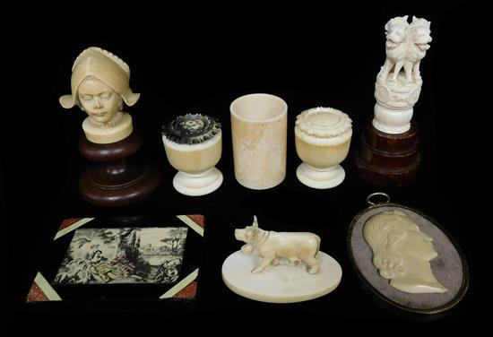 Ivory, mostly Continental 19th/20th C., eight pieces, including: relief profile of a man; pair of turned and carved shakers; a vase ...