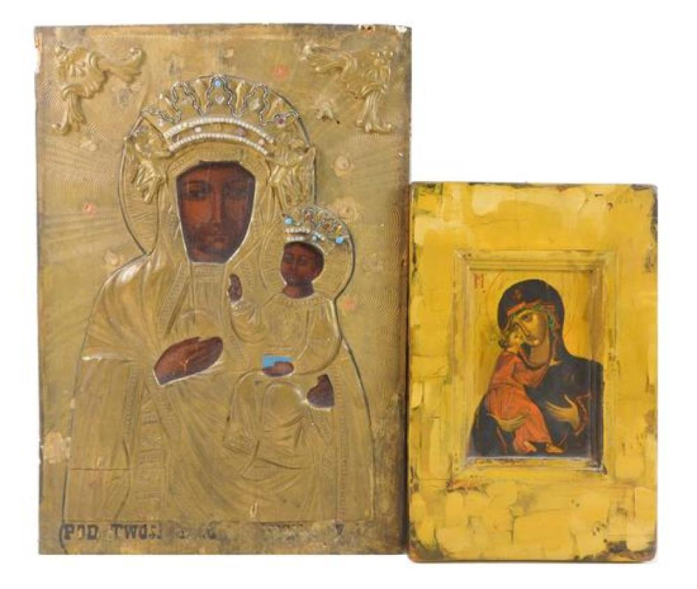 """Two Russian icons on panel, 20th C., both of mother and child, one with applied """"jewels"""", both with wear consistent with age and use..."""