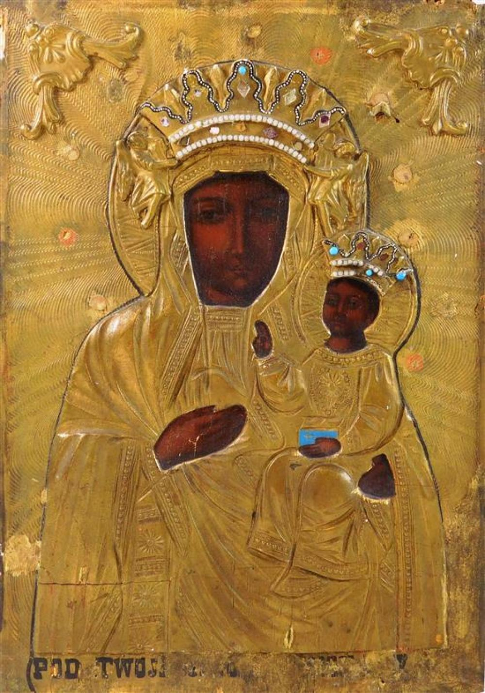 Two Russian icons on panel, 20th C., both of mother and child, one with applied