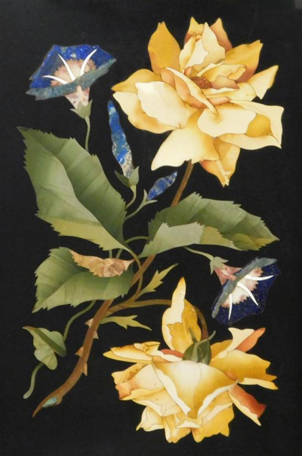 Pietra dura plaque, Italian, 19th C./20th C., depicting roses and morning glories, framed, not examined out of frame, wear consisten...