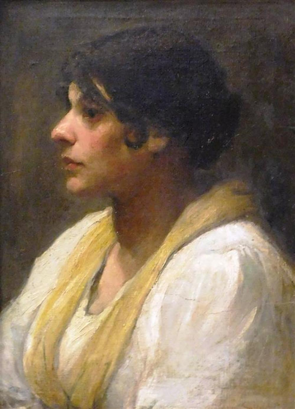 19th C. oil on canvas portrait of Mediterranean woman in profile, indistinctly signed and dated 1896 in red lower right, depicts oli...