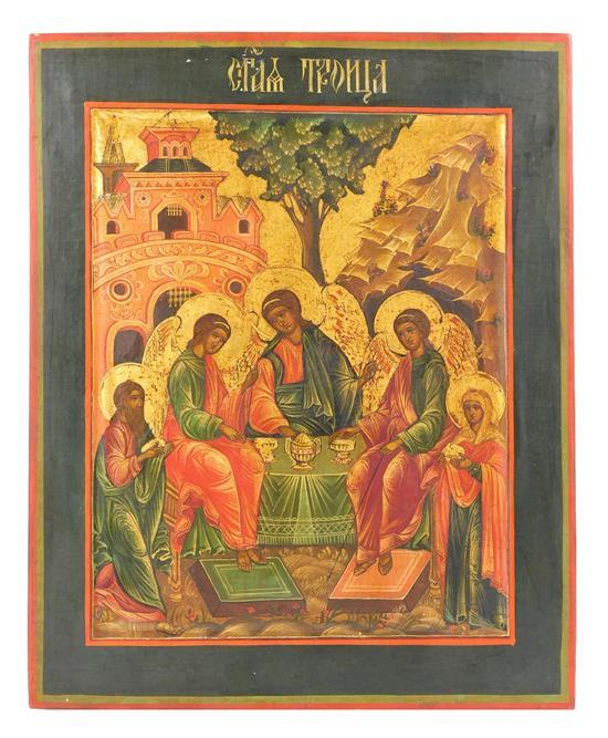 """Russian icon on panel, probably 19th C., depicting the """"Old Testament Trinity"""" with five figures around a table, church, tree and mo..."""