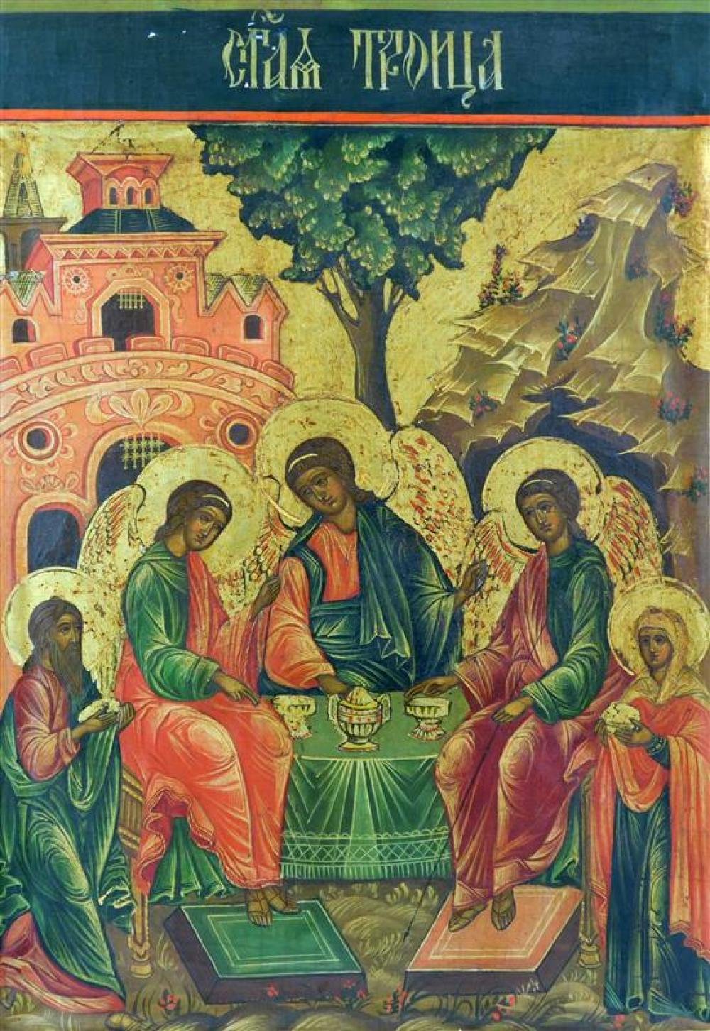 Russian icon on panel, probably 19th C., depicting the