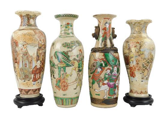 ASIAN: Four Asian baluster form vases, 19th/20th C., including: two Chinese porcelain, one with famille verte, the other with famill...