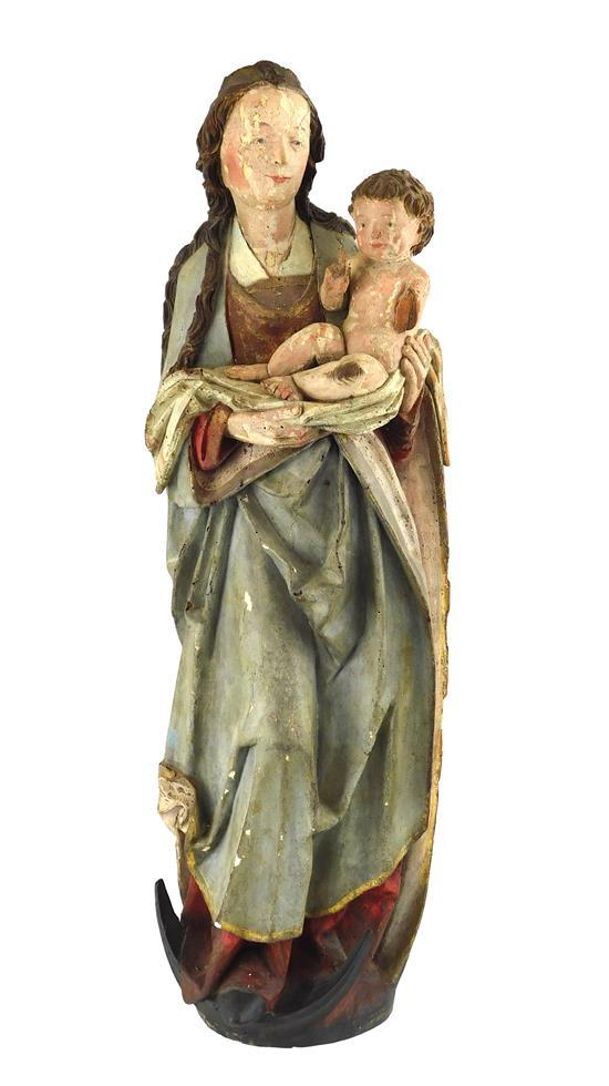 Madonna and Child on a Crescent Moon, French, c. 1500, French, wood devotional sculpture with traces of polychrome and gilding, rest...