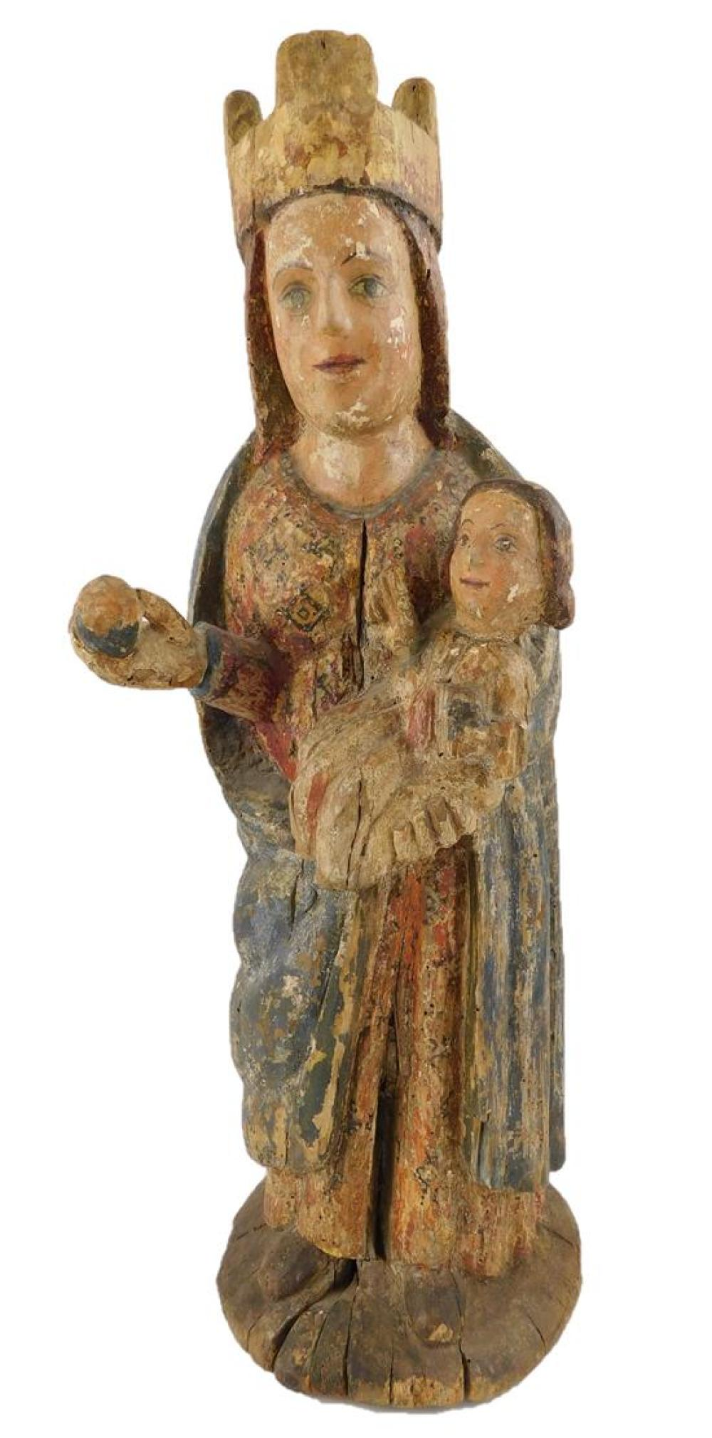Virgin and Child, possibly Spanish, medieval, sculpture, wood, traces of polychrome and gilding, devotional sculpture, condition: he...