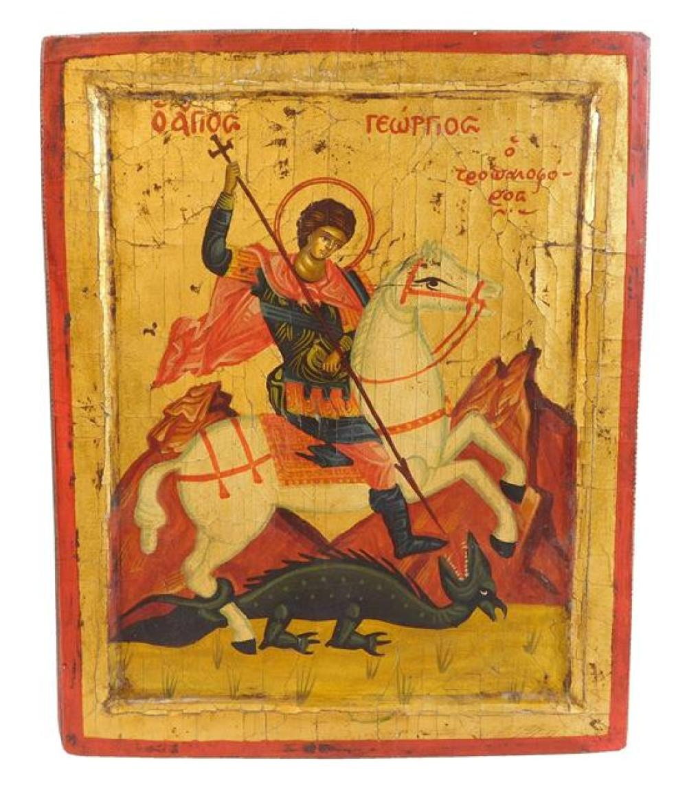 Three Contemporary Greek icons on panel, antique style including: St. George slaying the dragon; Christ Pantocrator; and one saint w...