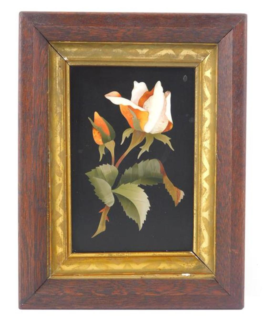 """Pietra dura plaque, Italian, 20th C., depicting roses, framed, not examined out of frame, wear consistent with age and use, 5"""" h. x..."""