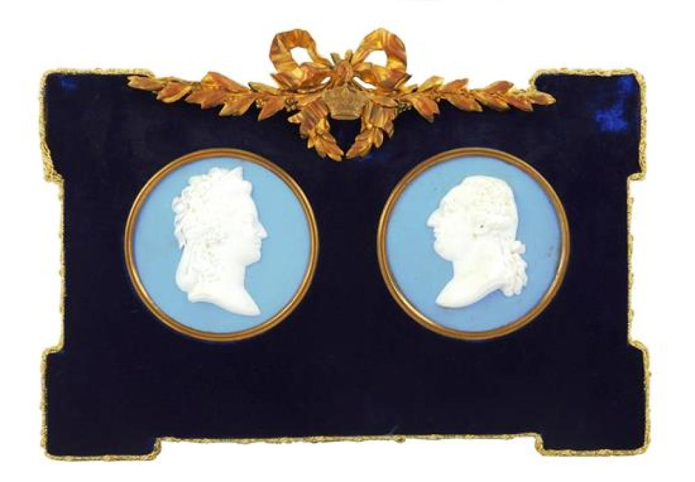 """Pair of round """"jasperware"""" ceramic plaques, Continental, possibly Sevres, 19th/20th C., in blue and white and depicting Louis XVI an..."""