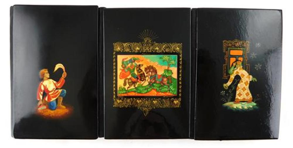 Russian hand-painted lacquer, six pieces, 20th C., including: three small address books with painted covers; one ring box decorated...