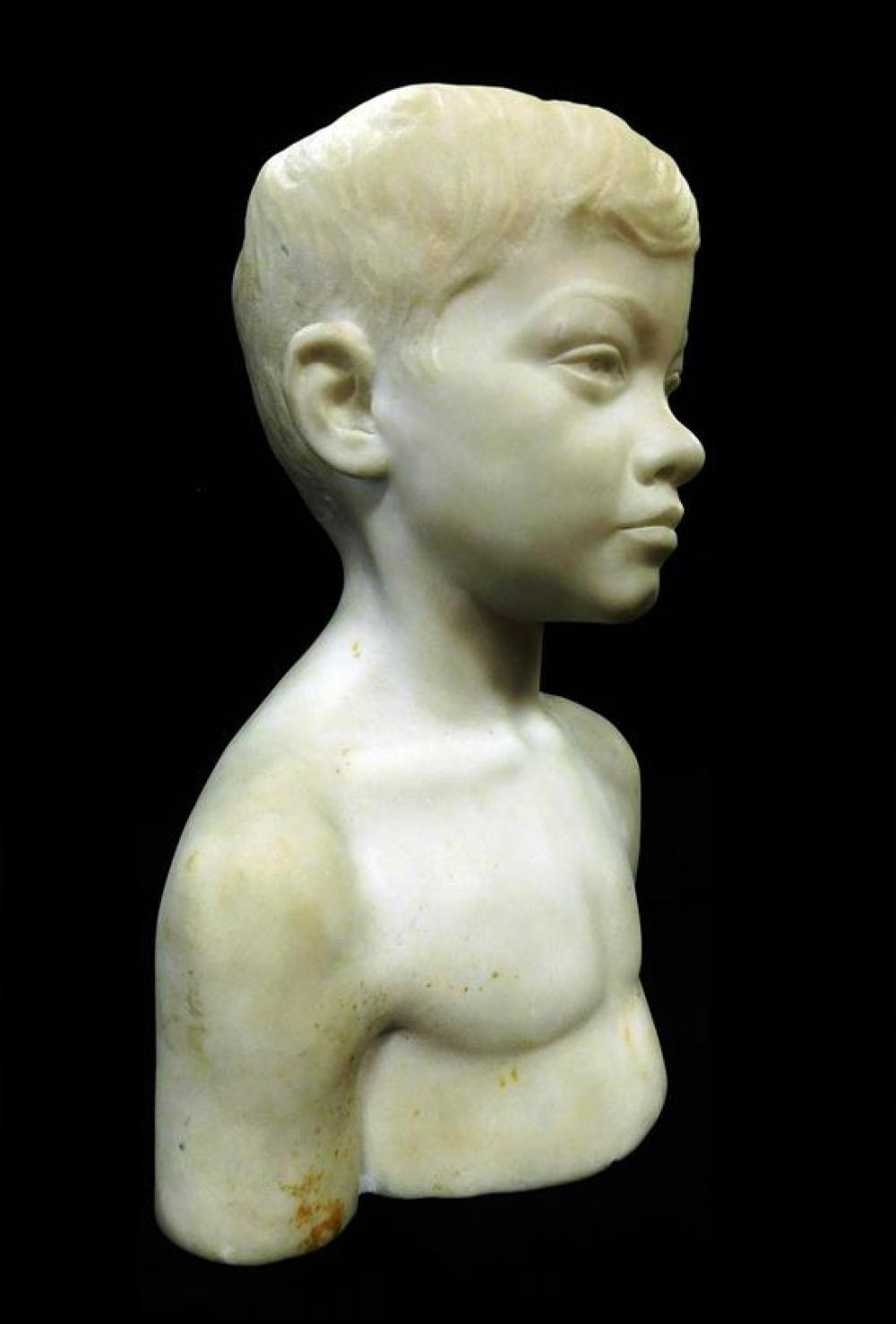 """Bust of young boy, white marble, unsigned, wear consistent with age and use including small chips to base, scratches, etc., 16 1/2"""" h."""