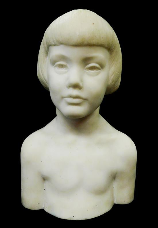 "Bust of young girl, white marble, unsigned, wear consistent with age and use including small chips to base, scratches, etc., 16 1/2"" h."