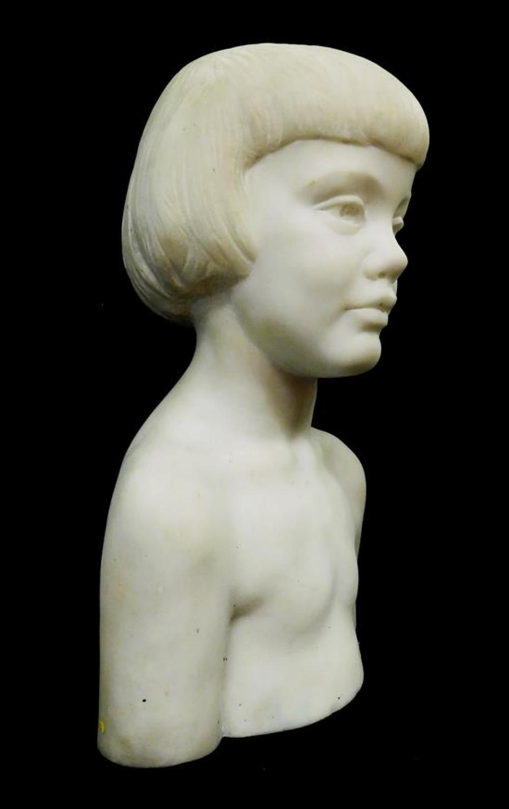 Bust of young girl, white marble, unsigned, wear consistent with age and use including small chips to base, scratches, etc., 16 1/2