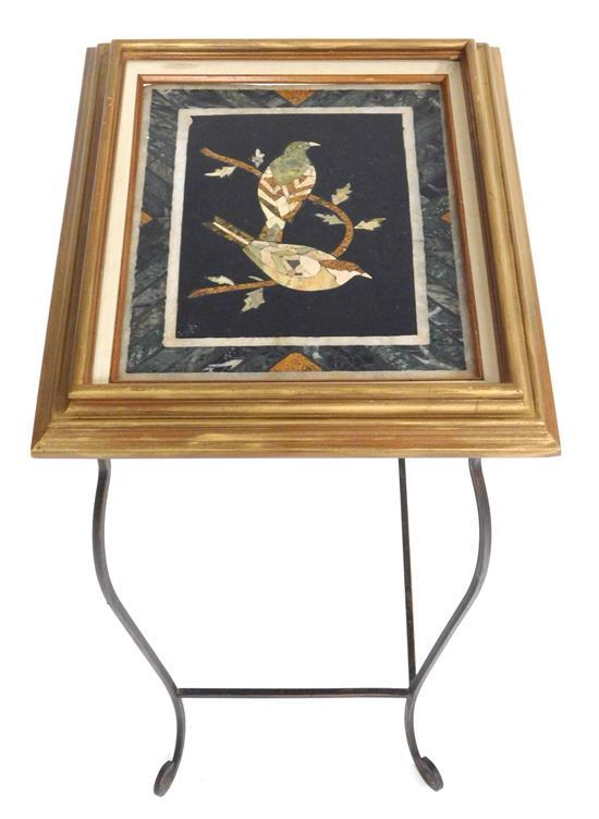 "Pietra dura picture frame mounted on table stand, two bird design at center, wear consistent with age and use, table size: 25"" h. x..."
