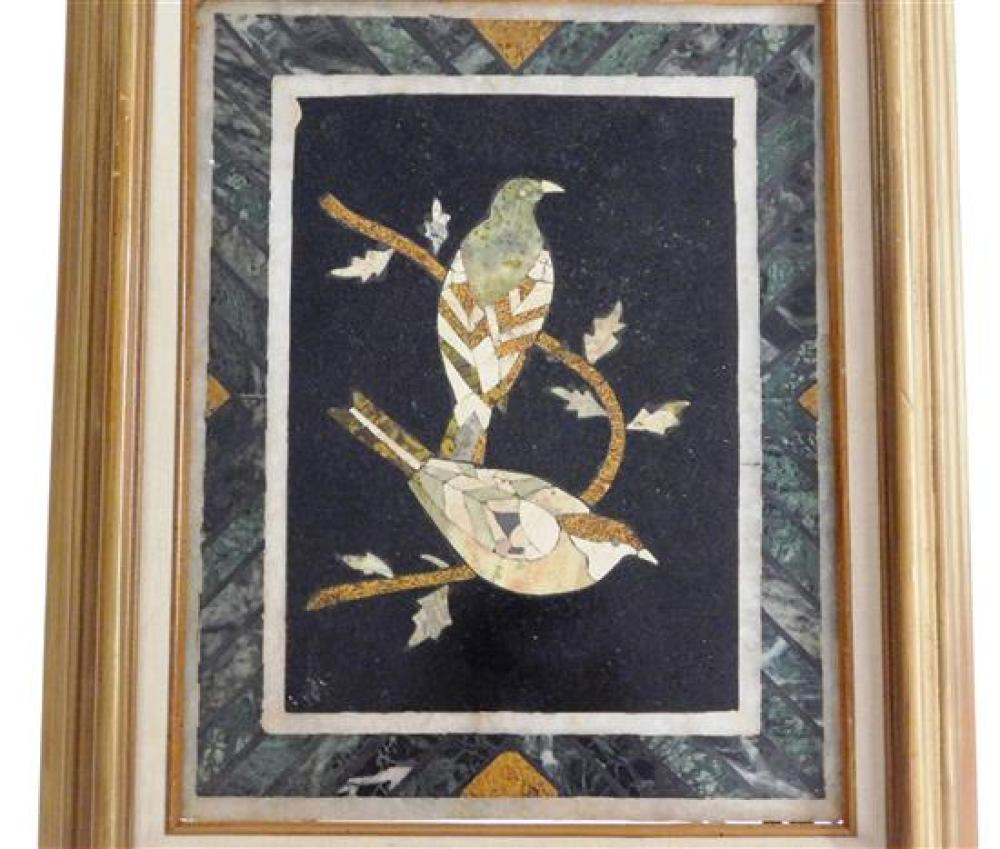 Pietra dura picture frame mounted on table stand, two bird design at center, wear consistent with age and use, table size: 25