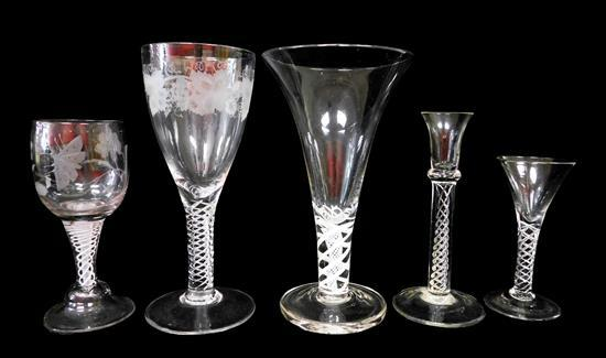 "GLASS: Five Georgian style glasses, 19th C. or later, including three with air twist stems, various forms, 10"", 8"" and 6 ¼"" h., the..."