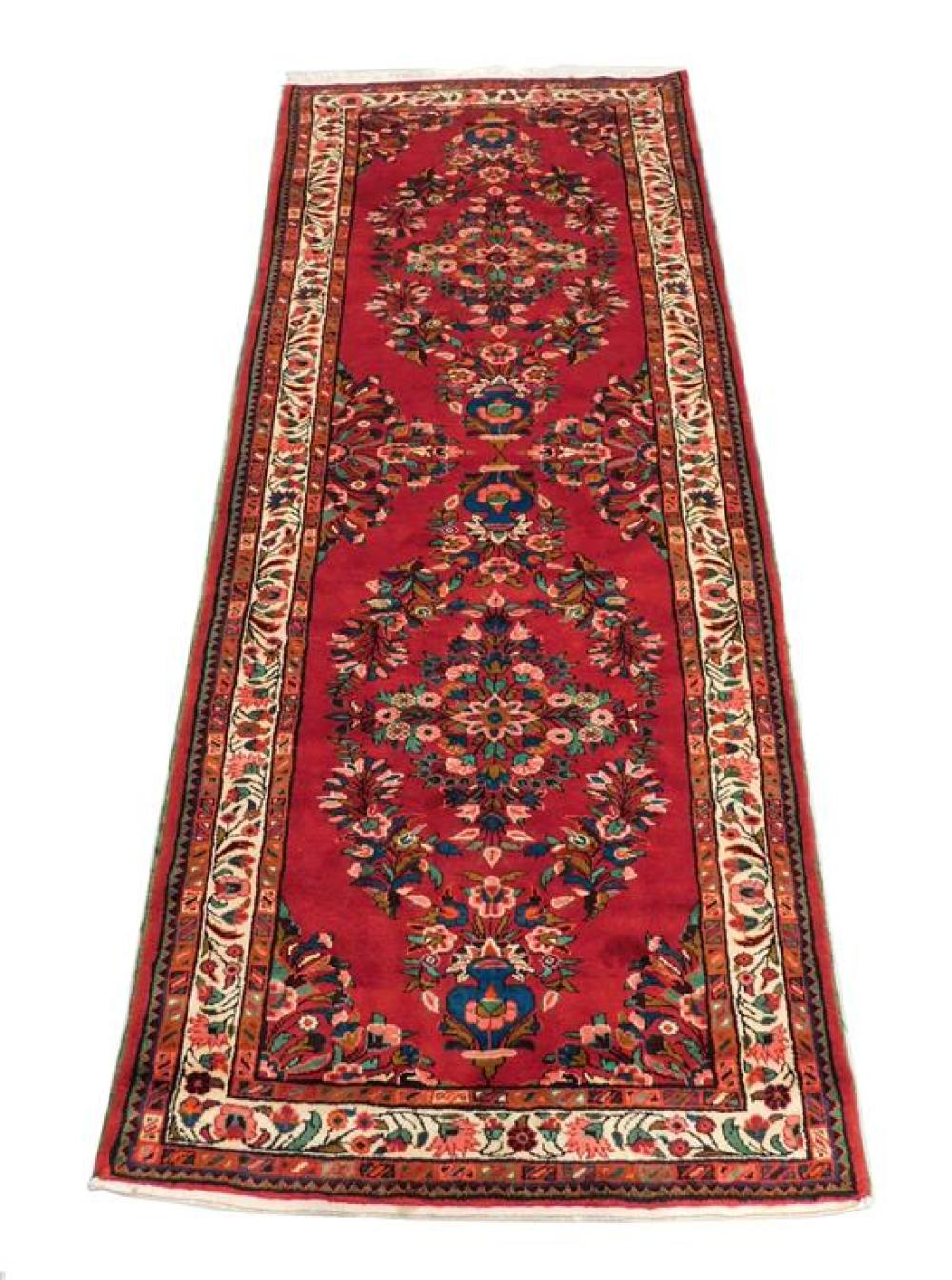 "RUG: Persian Hamadan, 10' 10"" x 4' 3"", 100% wool on cotton, double vase design at center with floral sprays on red ground, cream maj."