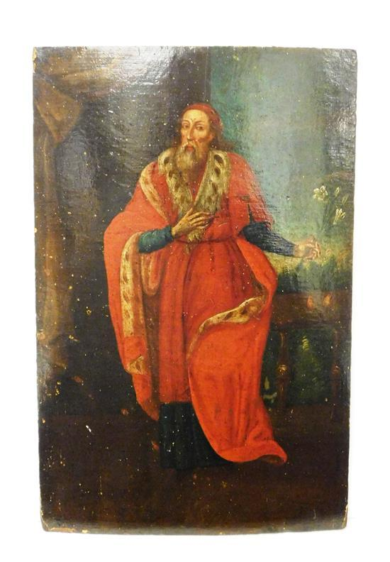 Oil on panel, Continental, 18th C. or earlier, figure in red robes holding flowers, unframed, wear consistent with age and use inclu...