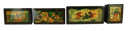 "Russian hand-painted oblong lacquer boxes, four pieces, all signed ""Mctepa"", vintage style with folk-lore, lacquered red interior, a..."