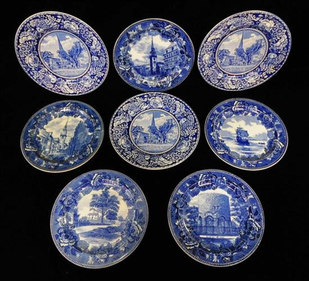 """Blue transferware plates, five Wedgwood, three British Anchor, some condition issues appropriate with age and use, largest 10 1/8""""dia."""