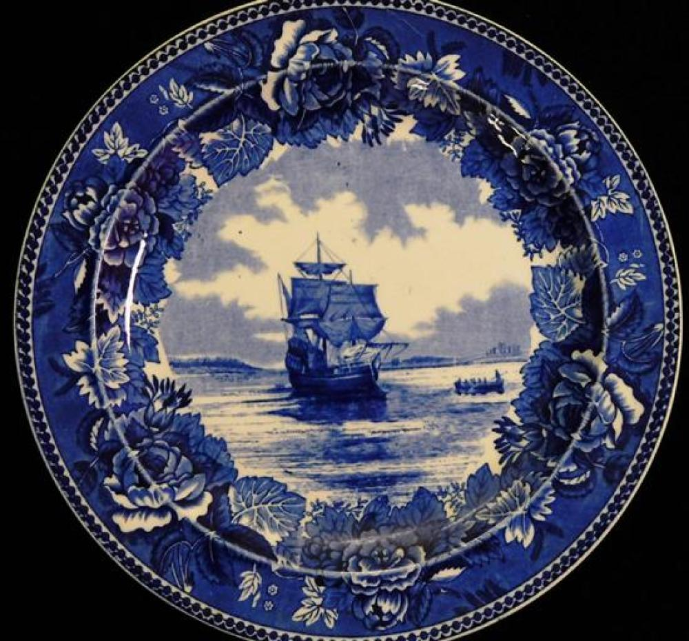 Blue transferware plates, five Wedgwood, three British Anchor, some condition issues appropriate with age and use, largest 10 1/8