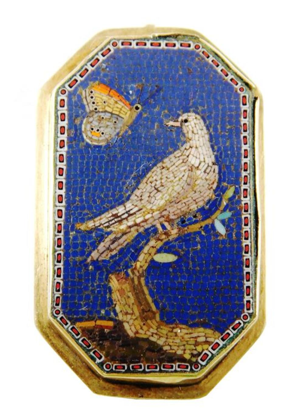 JEWELRY: 14K Giacomo Raffaelli Antique Dove Micromosaic Pin, early 19th C., octagonal shape frame tested 14K yellow gold, contains m...