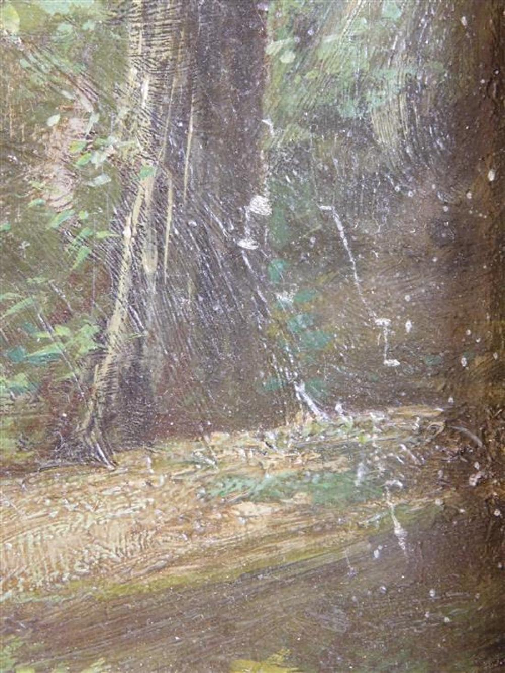 Barbizon type oil on canvas, late 19th/ early 20th C., depicts path in forest with small figure in distance, no visible signature, i...