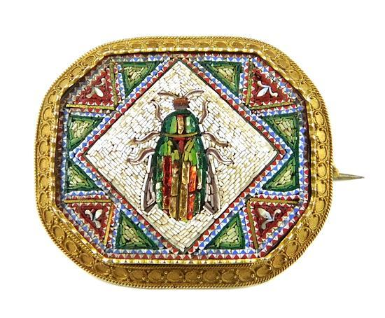 JEWELRY: 18K Egyptian Revival Scarab Micromosaic Pin, octagonal shape with Etruscan granulated frame, tested 18K yellow gold with ba...
