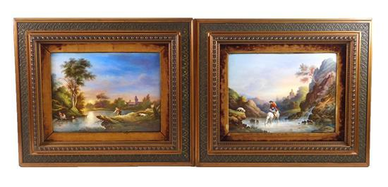 Pair of framed paintings on porcelain, pastoral Continental scenes, one with fishermen, one with equestrian, neither with visible si...