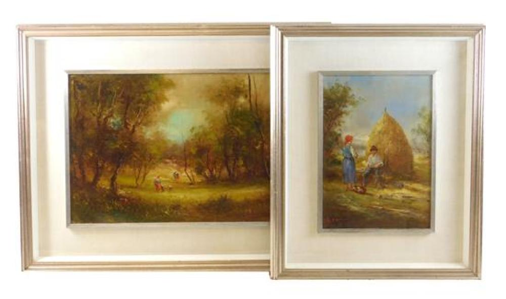 Two pastoral oils on canvas, both in shadow box frames and matted behind glass, details include: larger depicts figures and sheep in...