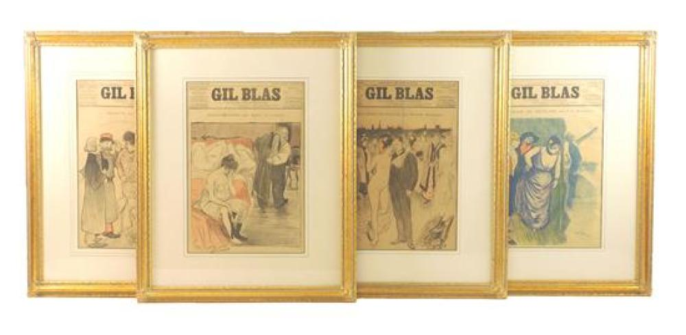 """Four framed covers of French periodical """"Gil Blas"""", Paris, 1893 and 1895, all illustrated by Théophile-Alexander Steinlen, titles in..."""