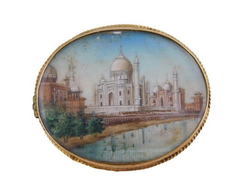 JEWELRY: 18K Taj Mahal Painted Miniature Pin, oval frame with rope edge tested 18K yellow gold, set with oval hand painted miniature...