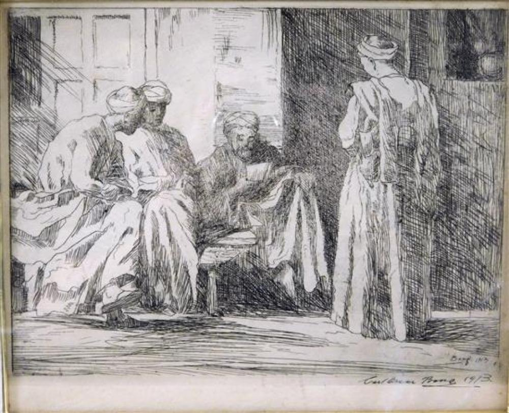 """Carl Oscar Borg (1879 - 1947), """"Arabs in Tangier"""", 1913, etching, signed and dated in plate lower right, depicts interior with four ..."""