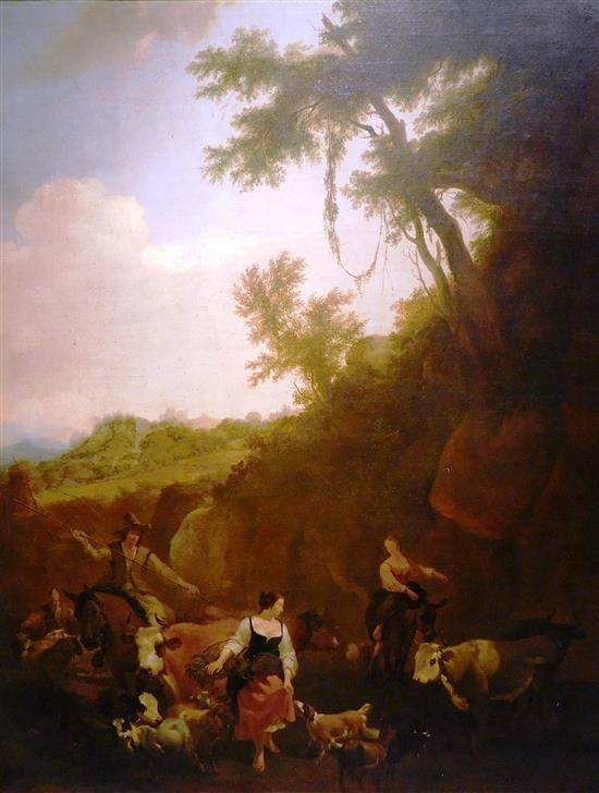 "Nicholaes Pietersz Berchem (Dutch, 1620 - 1683), Workshop of, ""Shepherds and Cattle Fording a Stream"", 17th C., oil on canvas, depic..."