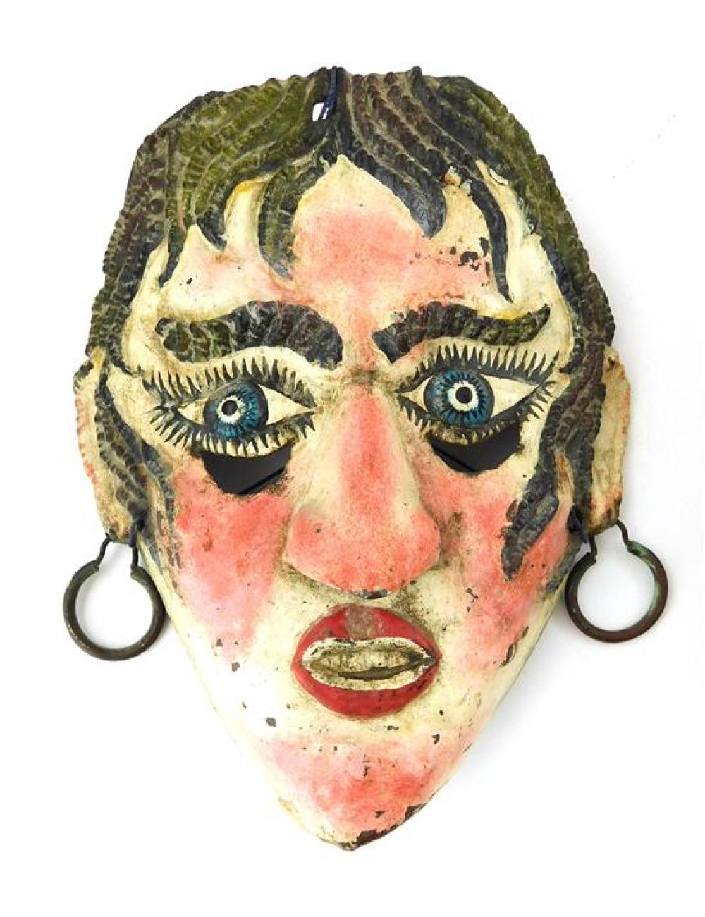 Three assorted masks: Venetian Carnival paper mâché mask, long nosed with red turban and gold colored accents, ribbon closure, inscr...