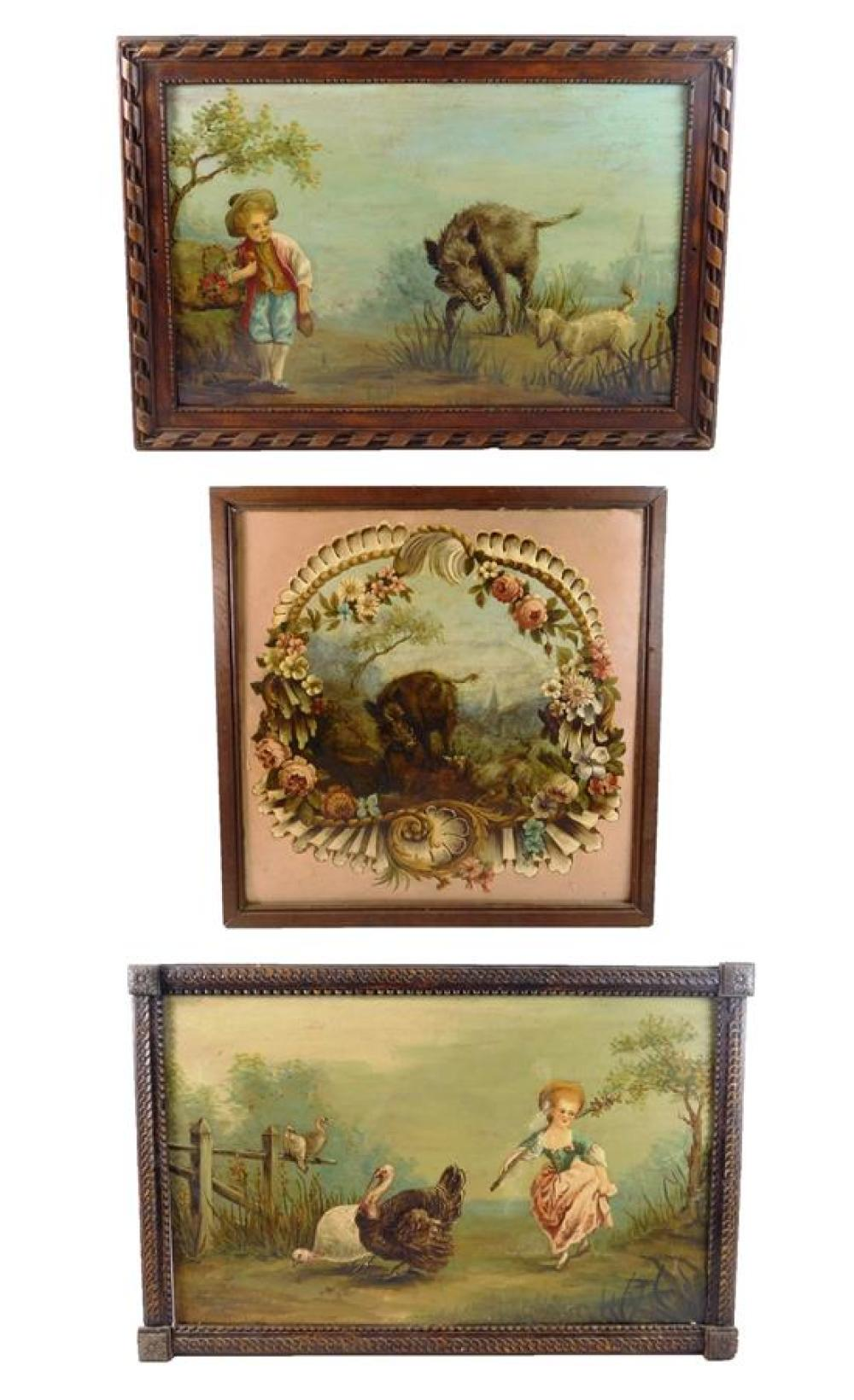 Three oil paintings ensuite: girl with turkeys; boy with boar and dog; dog and boar, all with wear consistent with age and use which...