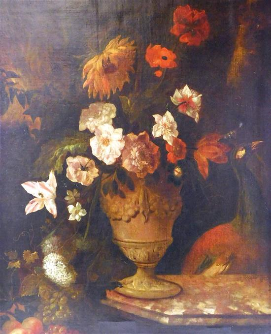 Dutch School Still Life with Flowers on a Marble Ledge with Exotic Bird, 18th C. or later, oil on canvas, maker unknown, signed with...