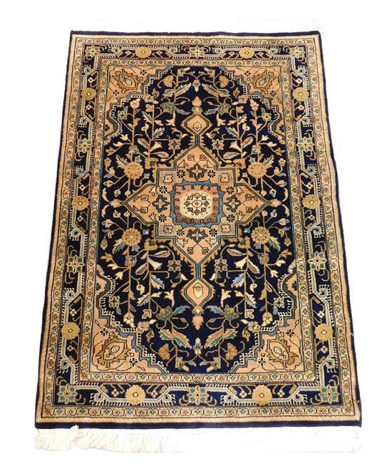 """RUG: Indo Hamadan, 5'10"""" x 4', hand-knotted, 100% wool on cotton, central medallion on black ground, floral vine design throughout,.."""