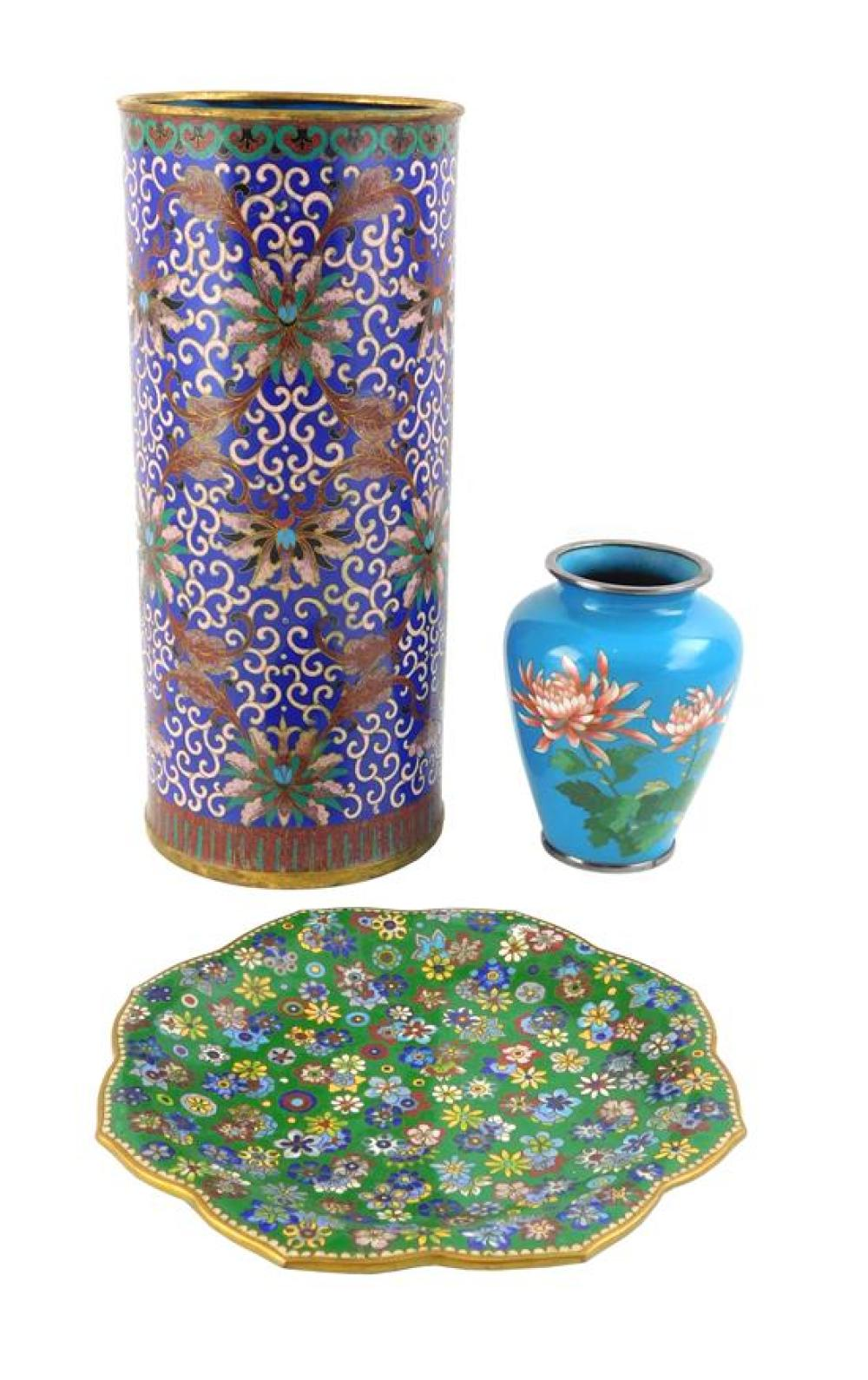"ASIAN: Three pieces of cloisonné enamel, 19th/20th C., including a Chinese cylindrical vase, 11 ¾"" h.; petal form dish, 8 ¼""; and a..."