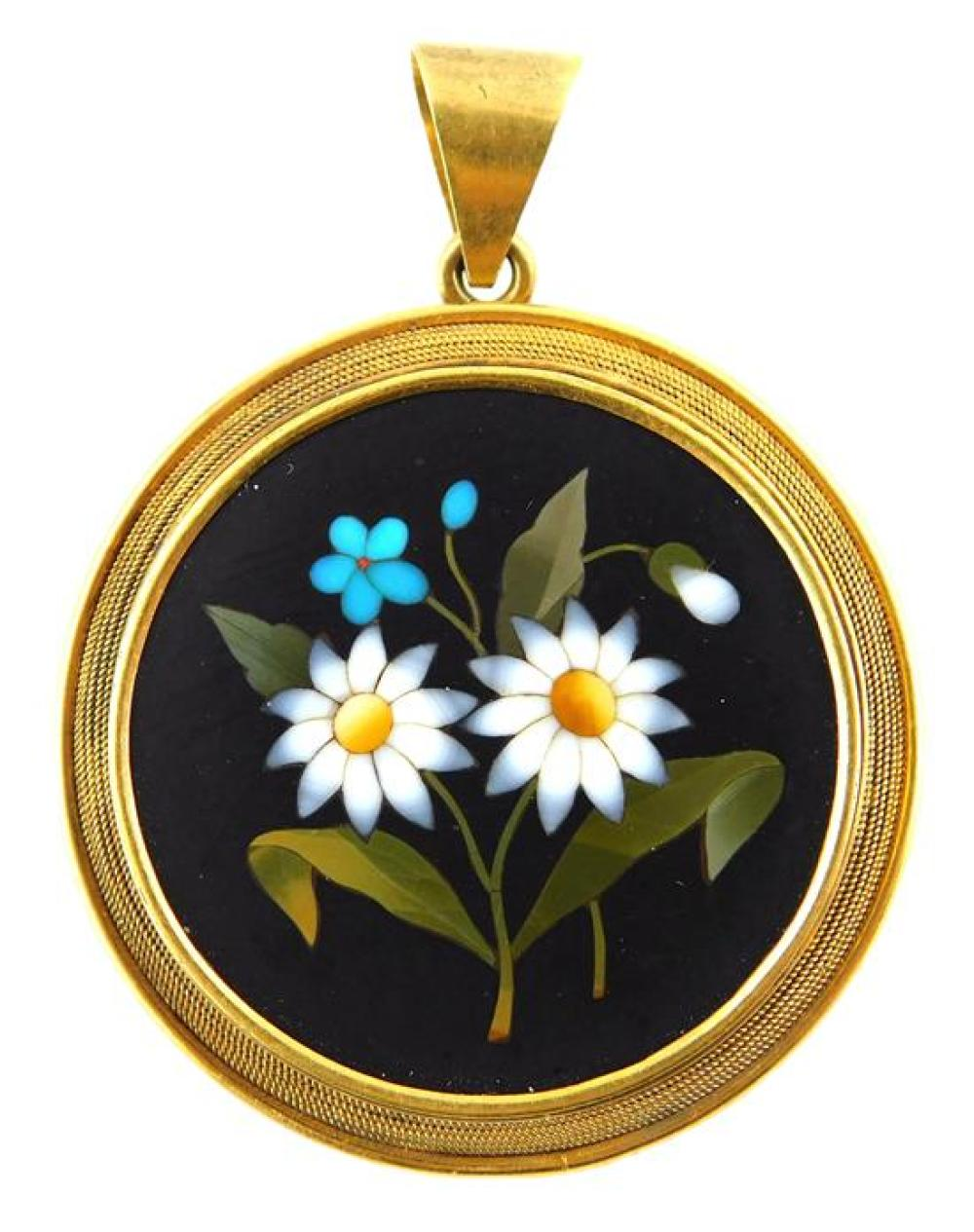 JEWELRY: 18K Pietra Dura Pendant of Daisies, round frame with hinged bale tested 18K yellow gold, design features two white petaled ...