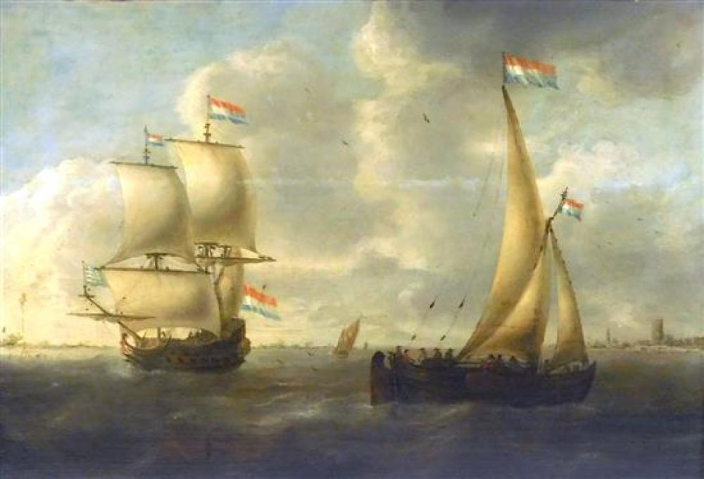 "Attributed to Jacob Adriaenz Bellevoix (Rotterdam, 1620/22 - 1676), ""Sailboats and Other Small Ships with View of a City"", 17th C. (..."