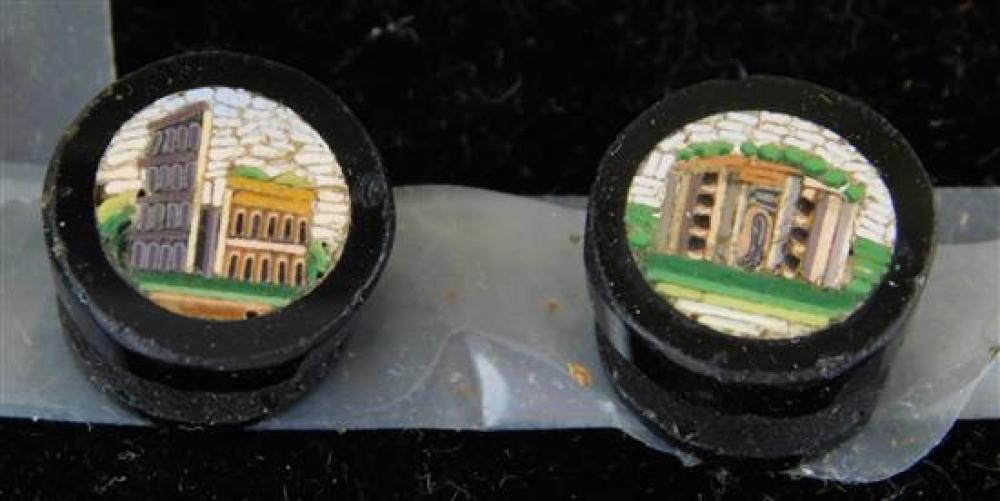 JEWELRY: Four Micromosaic Buttons of Ancient Rome Monuments, set of four round obsidian buttons with inlaid micromosaic design, wear...